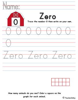 Tracing Numbers - Zero (Farm Animals Theme)