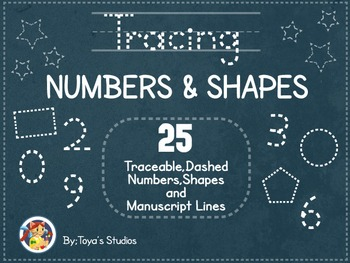 Tracing Numbers and Shapes- Traceable, Dashed Numbers and Shapes