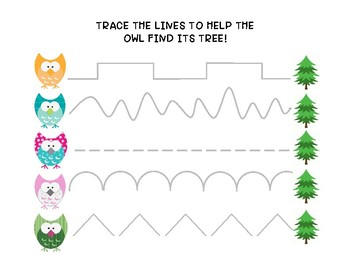 Tracing Owls, Fine Motor, Occupational Therapy