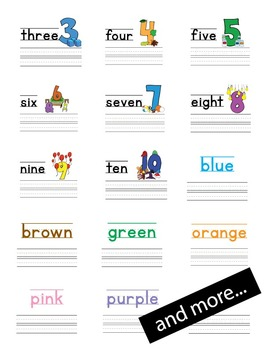 Tracing Pages - alphabet, numbers, colors, first words