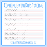 Tracing Pencil Control Paths With Dots at the Start Clip Art Set