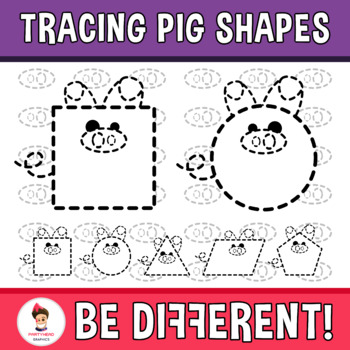 Tracing Pig Shapes Clipart