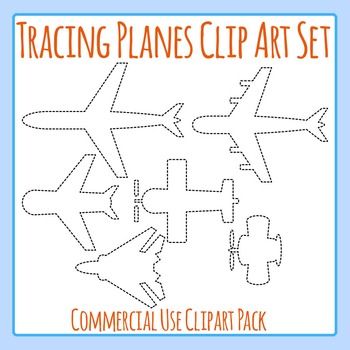 Tracing Planes for Fine Motor Control Clip Art Set for Commercial Use