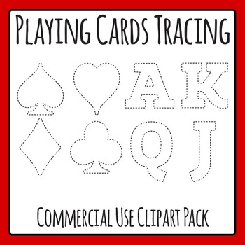 Tracing Playing Card Shapes for Fine Motor Control or Cutting Clip Art