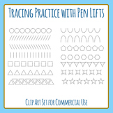 Tracing Practice Rows with Pen Lift for Pencil Control Clip Art Commercial Use