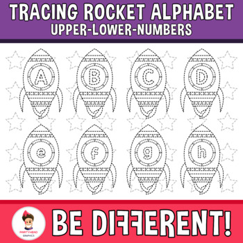 Tracing Rocket Alphabet Clipart Letters ENG.-SPAN. (Upper-Lower-Numb.)