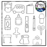 Tracing and Pinning School Supplies Clipart