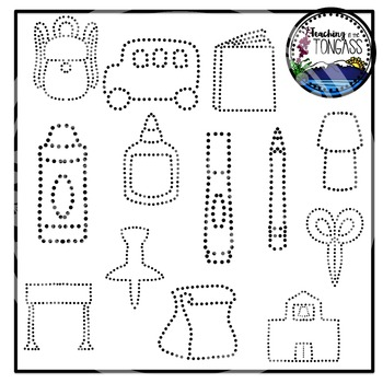 Tracing and Pinning School Supplies Clipart Bundle