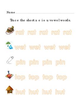 Tracing Short Vowel Words Vocabulary ELA Literacy Pictures A E I O U 3pgs
