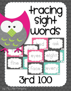 Tracing Sight Word Cards 3rd 100 Instant Sight Words for Centers