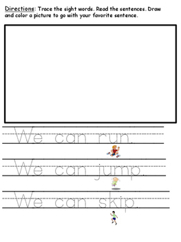 Tracing Sight Word and CVC Word Sentences