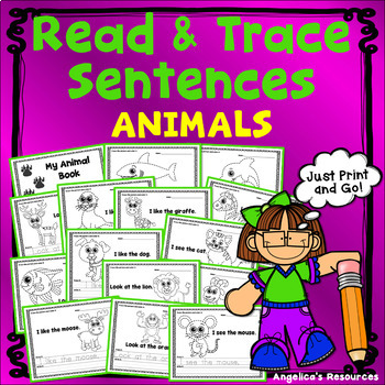 Tracing: Sight Words, Sentences, and Pictures - Animal The
