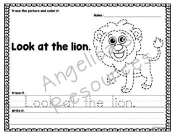Animal Tracing: Sight Words, Sentences, and Pictures -  Handwriting
