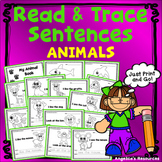 Animal Tracing: Handwriting Worksheets Sight Words in Sentences Tracing Images