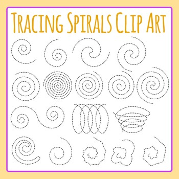Tracing Spirals Dashed / Dotted Spirals for Fine Motor Control Clip Art Set