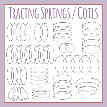 Tracing Springs / Spirals / Coils for Fine Motor Control Dashed Clip Art