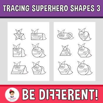 Tracing Superhero Shapes 3 Clipart