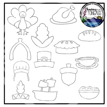 Tracing and Pinning Thanksgiving Clipart