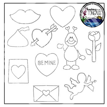 Tracing and Pinning Valentine's Day Clipart Bundle