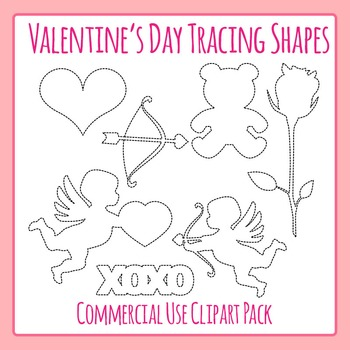 Tracing Valentines Day Shapes for Fine Motor Control or to Cut Out