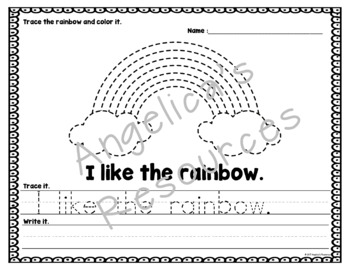 Weather: Sentence Tracing - Includes Sight Words - Weather Theme