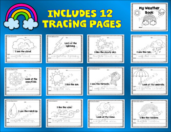 Weather: Simple Sentence Tracing - Includes Sight Words - Weather Theme