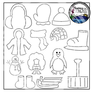 Tracing and Pinning Winter Clipart (Pokey Pin Clipart)