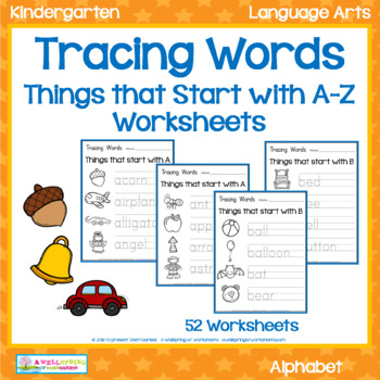 Tracing Words - Things that Start with A-Z