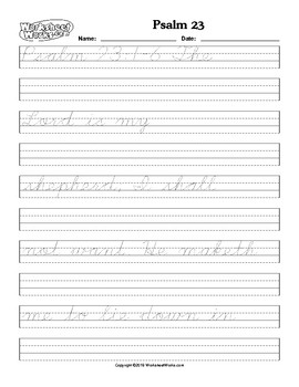Tracing and Cursive handwriting Practice Psalm 23 by Sarah Cummings