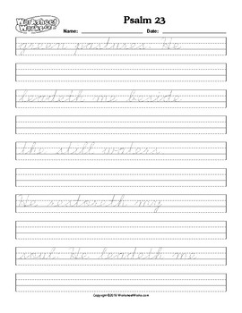 Tracing and Cursive handwriting Practice Psalm 23