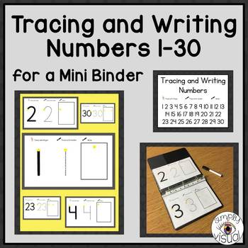 Tracing and Writing Numbers 1-30 for a Mini Binder