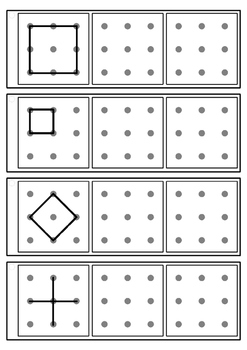 Dot to dot copy practice 3x3 design - key ring task cards - Occupational Therapy