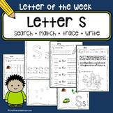 Tracing letter S - Letter of the week - 11 preschool and kindergarten worksheets