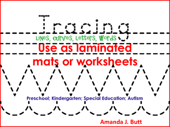 Tracing lines; curves, letters; Kindergarten; Special Education; Autism;