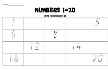 Tracing numbers 1-20