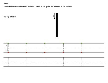 Tracing numbers 1 and 2 with instructions