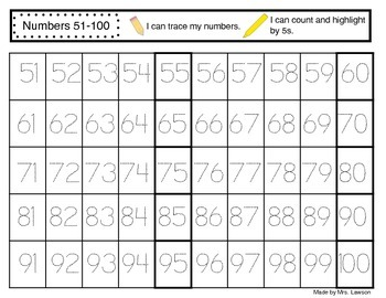 Tracing numbers 1 to 100 by Mrs Lawson's Kinder Kiddos | TpT