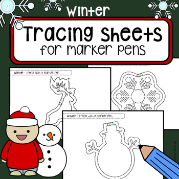 Tracing practice pre-writing skills WINTER worksheets  OT