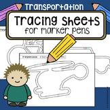 Tracing practice pre-writing skills TRANSPORTATION vehicle worksheets  OT