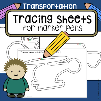 Tracing practice pre-writing skills TRANSPORTATION vehicle worksheets  OT