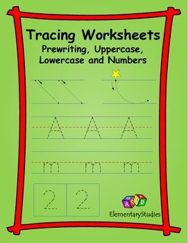 Tracing prewriting lines uppercase lowercase numbers