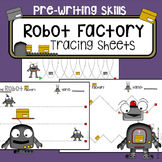 Fine motor skills - tracing practice - Robots worksheets - Occupational Therapy