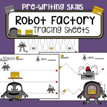Fine motor skills - tracing practice - Robots worksheets -