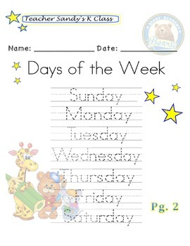 Tracing the Days of the Week!
