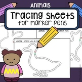 Tracing practice - pre-writing skills - animals - worksheets for Pre-K and OT