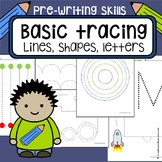 Tracing worksheets - pack of 91 pages - lines, shapes, letters