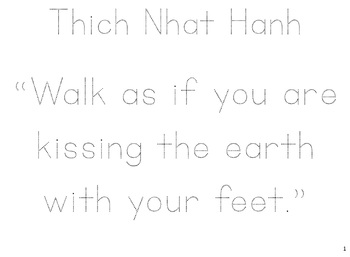 Tracing:Thich Nhat Hanh Quotes for Grace, Peace, & Courtesy