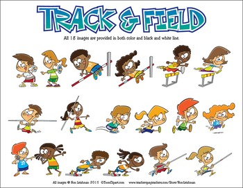 Track Field Cartoon Clipart By Ron Leishman Digital Toonage Tpt