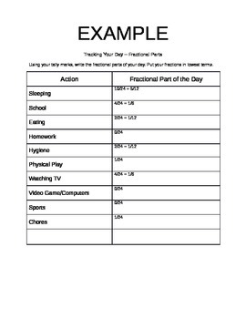 Track Your Day - Fractional Parts