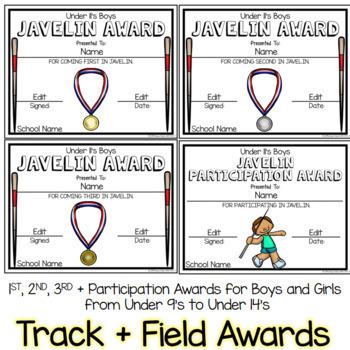 Track and Field Athletics Awards Editable Bundle